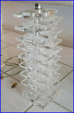 PAIR of EPIC VINTAGE 70's ARCHITECTURAL STACKED THICK LUCITE TABLE LAMP