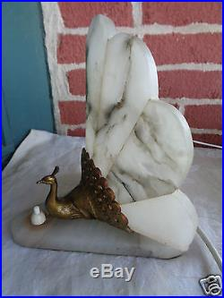 PAIR of VINTAGE ART DECO WHITE MARBLE GOLD GILT PEACOCK BOUDOIR TABLE LAMP