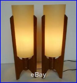 Pair 2 Vintage Danish Modern Teak Wood Rocket Table Mantle Lamps 19 Tall MCM