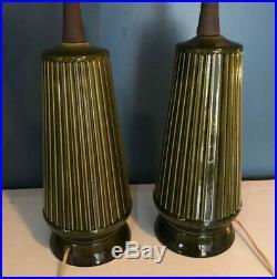 Pair 2 Vintage Mid Century Modern MCM Green Glaze Ceramic & Wood Art Table Lamps