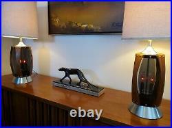 Pair (2) Vtg. Mid Century Modern Walnut & Lucite/Plexiglass Table Lamps