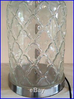 Pair 2 x Large Cream Shabby Chic Glass Regency Table Lamp Vintage Bedside Desk