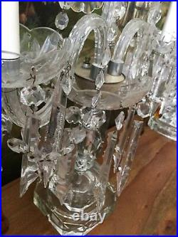 Pair Antique Chech st Crystal Banquet Table Chandelier/Girandole/Lamps 26x17