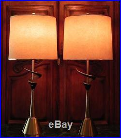 Pair Danish Atomic Modern TEAK & BRASS Table Lamps Vintage MCM Retro Mod