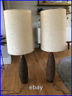 Pair Large MCM Wood CORK Lamps Vintage Mid Century Modern Retro Tall Table Lamps