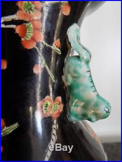 Pair Of Lamps Chinese Porcelain Famille Noire Vintage 29 Tall Pre-wwii