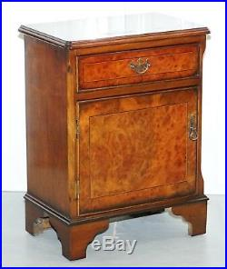 Pair Of Vintage Burr Walnut Wood Lamp Side End Wine Table Cupboards With Drawers
