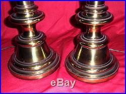 Pair Of Vintage Hollywood Regency Brass Stiffel Table Lamps