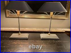 Pair Of Vintage Oka Grisewood Painted Toleware Table Lamps With Shades
