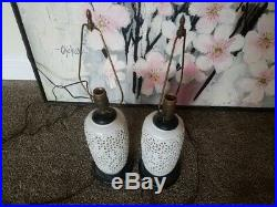 Pair Of Vintage Reticulated Blanc De Chine Porcelain Cherry Blossom Lamps
