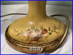 Pair Vintage Antique Style Hand Decorated Chinoiserie Chestnut Urn Table Lamps