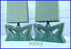Pair Vintage Art Deco 1950's Retro Green Porcelain Ceramic Lamp