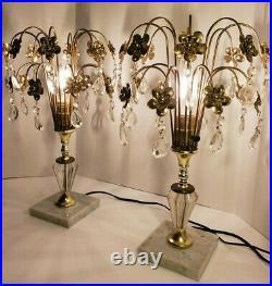 Pair Vintage Art Deco Crystal Waterfall Table Lamps, Hollywood Regency Boudoir