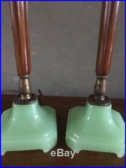 Pair Vintage Art Deco Jadeite Bakelite Table Boudoir Desk Lamps Machine Age