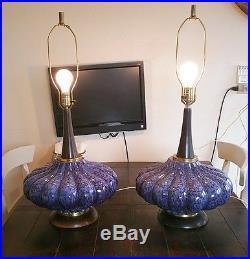Pair Vintage Blue Drip Glaze Squash Shaped Ceramic Lamps MID Century