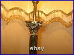 Pair Vintage Cast Brass Reeded/Fluted Corinthian Column Lamp Bases British Made