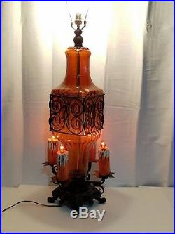 Pair Vintage Gothic Murano Art Glass Wrought Iron Lamps Chalkware Candle Light