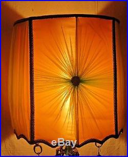 Pair Vintage MID Century Retro Mediterranean Italian Gothic Lamps /shades