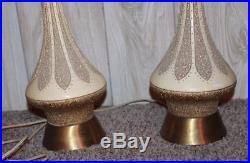 Pair Vintage Mid Century Atomic Danish Quartite Creative Corp. Table Lamps 1960s