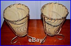 Pair Vintage Mid Century Atomic Fiberglass Table Lamps