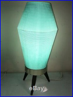 Pair Vintage Mid Century Modern Atomic Turquoise Aqua Beehive Lamp Tripod Base