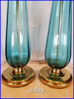 Pair Vintage Mid Century Modern BLENKO 36 Turquoise Glass Table Lamps