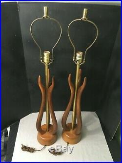 Pair Vintage Mid Century Modern Teak Danish Table Lamps MCM