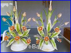 Pair Vintage Retro Tole Floral Lamps Tulips And Daisies Table Light