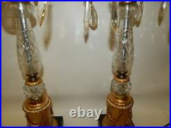 Pair Vintage Tall Table Lamps Ornate Hollywood Regency Gold Gilt Crystal Prisms