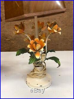 Pair Vintage Tole Metal Flower Floral Bouquet Toleware Table Lamps Mid Century