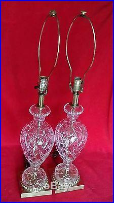 Pair Vintage Waterford Lamps Cut Crystal Glass Brass Table Criss Cross Dot