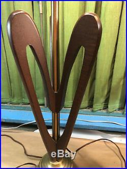 Pair Vtg Mid Century Danish Modern Sculptural Wood Table Lamps Teak Heart Shape