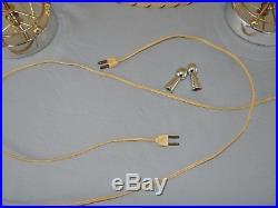 Pair Vtg Mid-Century Modern Atomic Sputnik Table Lamps Fiberglass 2 Tier Shades