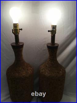Pair of EAMES Vtg MCM MID CENTURY MODERN DANISH CORK LAMPS- 24