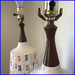 Pair of Mid Century Vintage Modern Geometric Ceramic & Wood Pottery Table Lamps