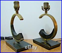 Pair of Vintage Art Deco Brass & Wood Table Lamps Very Rare (Chanel)