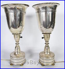Pair of Vintage Art Deco Moderne Silver Plate Torchiere Table Lamps