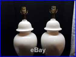 Pair of Vintage Ceramic White Art Pottery Ginger Jar Urn Lamps Hollywood Regency