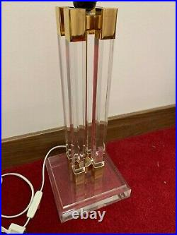 Pair of Vintage Charles Hollis Jones Lucite and Brass Table Lamps