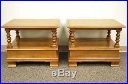 Pair of Vintage Ethan Allen Heirloom Nutmeg Maple Birch End Side Lamp Tables