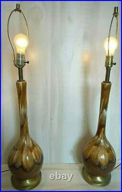 Pair of Vintage Mid Century Modern Drip Glazed Ceramic Table Lamps Retro Brown