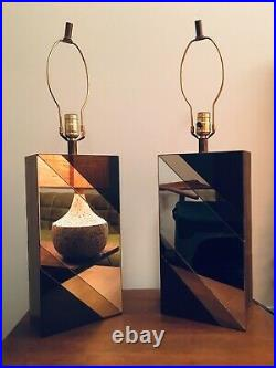 Pair of Vintage Mid Century Modern Mirrored Chevron Table Lamps 1960s