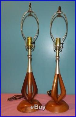 Pair of Vintage Mid Century Modern Sculpted Teak Wood Table Lamps