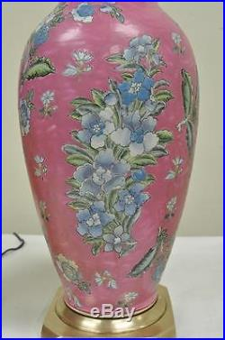 Pair of Vintage Oriental Heyward House Brass Ceramic Pink Floral Table Lamps