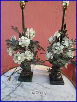 Pair of Vintage Tole flower PETITES CHOSES table Lamps