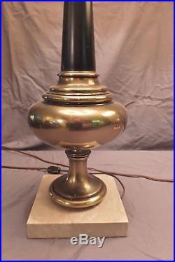 Pr. Vintage Stiffel Lamps Brass Balluster, Hollywood Regency Parzinger Eames