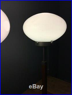 Preloved Rare Vintage Ikea Art Deco Style Table Lamps Pair Wood Bases