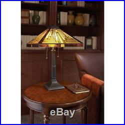Quoizel 2 Light Stephen Tiffany Table Lamp in Vintage Bronze TF885T