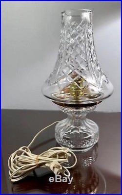 RARE Vintage Waterford Irish Crystal L6 Electric Hurricane Lamp Table Light EUC
