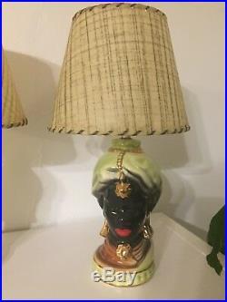 RARE Vtg Pair Of Blackamoor Mid Century native Turban lamps with Shades regency